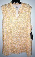 Womens Nike Dri-Fit Sleeveless Golf Polo Shirt Orange/White New Size 2XL $50
