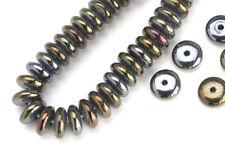 100 Brown Iris Czech Glass Rondelle Beads 6MM