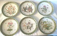 "6 TWOS COMPANY Natura Hanging Botanical Floral Plates Set 8"" Decorative Numbered"
