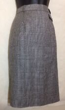 Vintage A. Gold Femme Pure Wool Skirt Size 6 Black Gray White Glen Plaid Lined