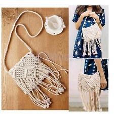 Vintage White Knitted Cross-Body Bag Tassels Shoulder Bag for Women