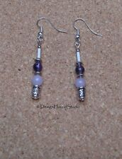 Amethyst / Lilac Jade  Bead Drop Earrings