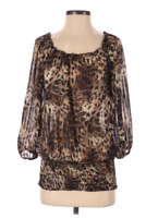 ND Womens Blouse Top Size S Black Brown Animal Print Smocked Sheer 3/4 Sleeve