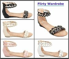 Womens Sandals Ladies Flats Girls Studded Pearls Studs Sexy Sandal Ankle Strappy