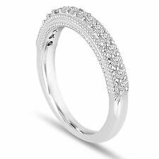 Platinum Diamond Wedding Band 0.22 Carat Handmade Milgrain Pave