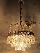 Vnt French Pretty Basket Style Real Bohemian Crystal Chandelier 1960's 13in dmt