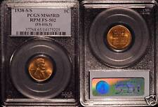 1938-S PCGS MS65 Red Lincoln Cent RPM-002  FS-502 #5225