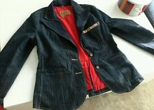 ROYAL GSUS DENIM GOLD PINSTRIPED EMBROIDERED JACKET LADIES SIZE L (12/14)