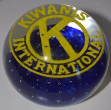 Vintage Kiwanis International Paperweight Blue Yellow Art Glass