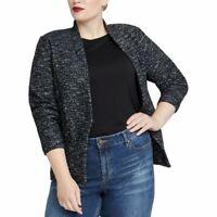 RACHEL ROY Women's Black Combo Plus Tweed Knit Mixed Media Jacket Top 0X TEDO