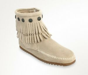 Minnetonka Women's Stone Leather Double Fringe Side Zip Moccasin Boot 696