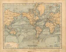 Carta geografica antica MAPPAMONDO secondo MERCATORE 1897 Old antique map