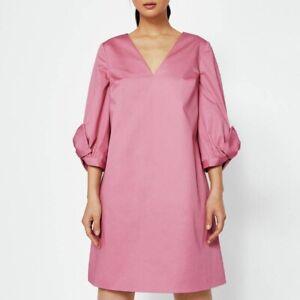 NWT $259 TED BAKER Size 2 / US 6 Solyane V-neck Bow Sleeve Shift Dress Pink