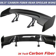 "Real Carbon Fiber Universal 144cm 57"" GT Adjustable Rear Trunk Spoiler Wing"