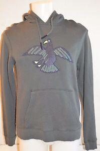 BURKMAN BROS Man's FELT BIRD Hooded Sweatshirt NEW  Size Large   Retail $155