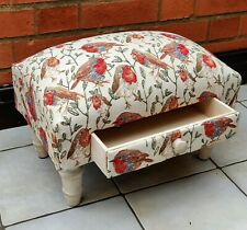 Bird Design Robins Fabric Footstool With Drawer - Christmas New