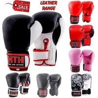 Real Leather Boxing Gloves Punch Bag Pro Fight Gym Training MMA Cow Hide Gym Pad