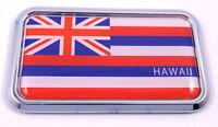 "Hawaii flag rectanguglar Chrome Emblem 3D Car Decal Sticker 3"" x 1.75"""