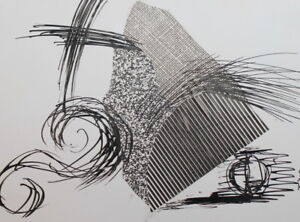 Abstract Modernist Composition Ink / Collage Drawing Signed