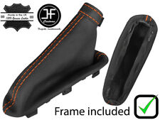 ORANGE STITCH LEATHER HANDBRAKE BOOT + PLASTIC FRAME FITS ALFA ROMEO MITO 08-17