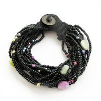 Multi-Color Acrylic Beads Multi-Layer Bracelet Black Silk Cord Jewelry