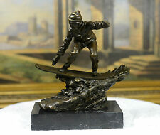 Signed:Nick Bronze Sculpture man on snow board snowboarding sports Statue