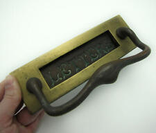 Antique Brass Letter Box Plate with Door Pull Handle / Mail Slot Mailbox