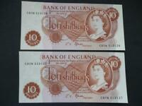 1967 B310 FFORDE PAIR OF TEN SHILLING NOTES CONSECUTIVE NUMBERS & UNCIRCULATED.