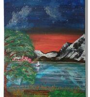 Gemälde Ölmalerei Impressionismus handgemalt signiert Berge See 40x80 SR-Arts