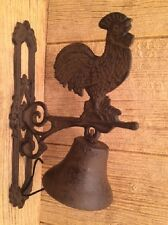 "Cast Iron Large Rooster Dinner Bell 11 3/4"" tall Farmhouse Decor 0170S-02123"