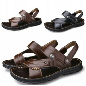 Summer Men Open Toe Slip On Sandals Beach Outdoor Slippers Shoes Faux Leather BB