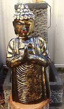 HANDCARVED 1 SOLID PIECE OF WOOD BALINESE BUDDHA MEDITATION 65cm GOLD PAINTED