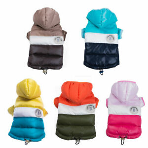 Fashion Dog Hooded Down Jacket Winter Warm Puppy Cat Hoodie Coat Clothes Bulldog