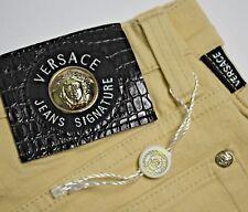 90s VERSACE JEANS SIGNATURE Jeans High Waist Gold Medusa Logo Vintage Slim Beige