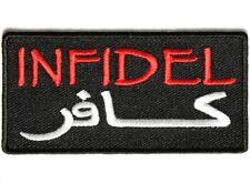 "(CC) INFIDEL Black Arabic 3.5"" x 1.75 iron on patch (3647) Biker Military"