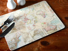 Set of 4 EVERYDAY HOME Atlas Map CORK-BACKED PLACEMATS Table Mats