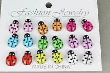 9 pair ladybug earrings set pack plastic stud post multi colors Lady Bugs