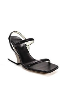Tibi Womens Leather Miko Sandals Black White Size 36.5 6.5