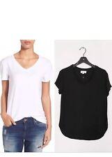 NEW $89 CLOTH & STONE V-NECK SHORT SLEEVE TOP BLOUSE WHITE Sz L