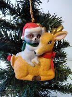 Christmas Ornament Best Friends Hand Painted Bisque Porcelain Bell Raccoon/Deer