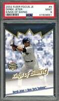 2002 fleer focus je kings of swing #9 DEREK JETER new york yankees PSA 9