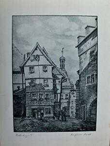 Rothenburg ob der Tauber. Original Lithographie - Grüner Markt um 1925 signiert