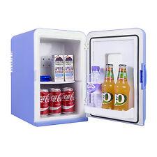 15L Portable Small Mini Fridge With Window For Bedroom, Mini Cooler In Blue