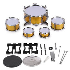 Children Kids Drum Set Toy 5 Drums with Small Cymbal Stool Golden P0Y2