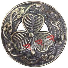"AAR Fly Plaid Kilt Brooch Big Irish Shamrock Unisex Adult Pin Jewelry Antique 3"""