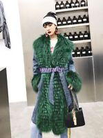 Luxury Winter Womens Big 100% Real Fox Fur coat wool fur jacket overcoat parkas