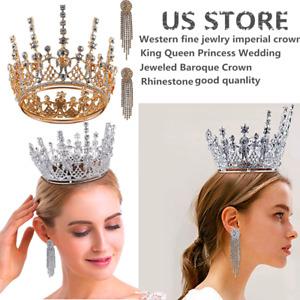 Crystal Tiara Wedding Bride Princess Rhinestone Hair Headband Crown+Earings Set