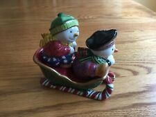 Fitz And Floyd Snow Guys Salt & Pepper w Sleigh Holder