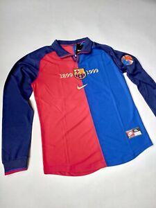 Xavi Barcelona Jersey #26 1999 Home Long Sleeve Soccer Jersey Size L
