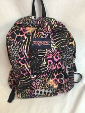 JanSport High Stakes Backpack School Pack Black Cheetah Animal Prints